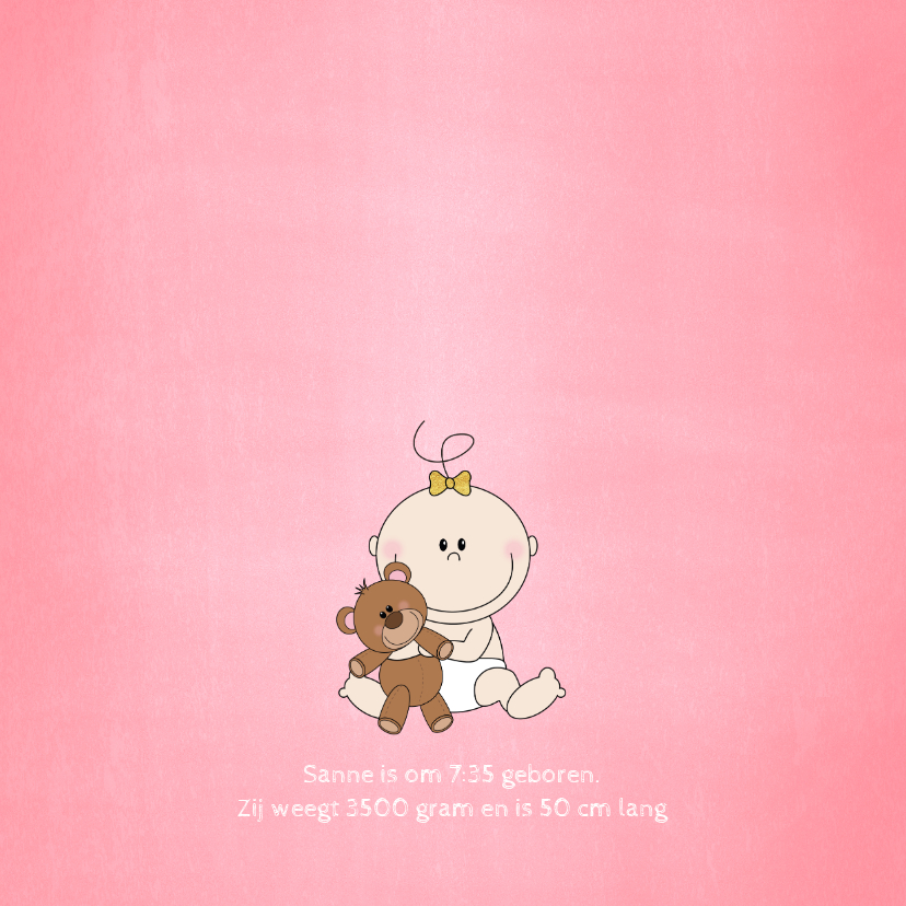 Geboorte schattig roze kaartje meisje met knuffelbeer 2
