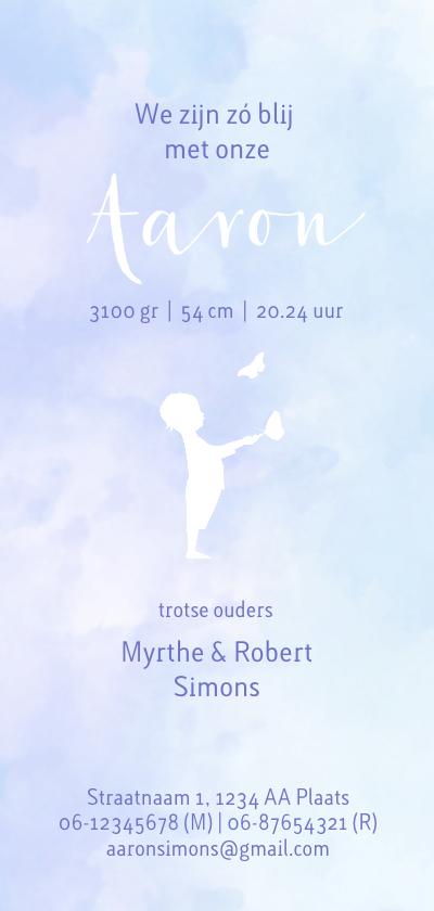 geboorte silhouet jongen met vlinder achterkant
