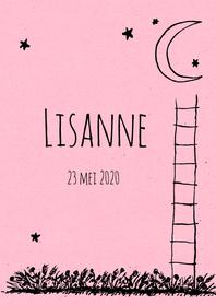Geboortekaartjes - Geboorte trapje maan roze - HR
