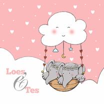 Geboortekaartjes - Geboorte tweeling Loes en Tes IH