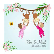 Geboortekaartjes - Geboorte tweeling meisje & aapje
