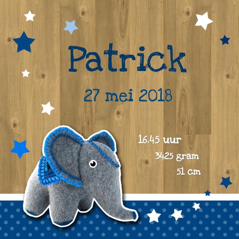 Geboorte vilten olifant blauw 2