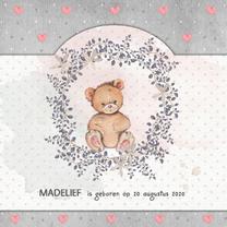 Geboortekaartjes - Geboorte watercolor beer meisje