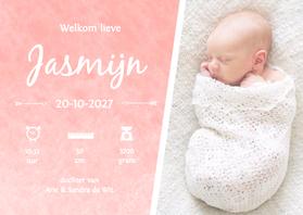 Geboortekaartjes - Geboorte waterverf Jasmijn - DH