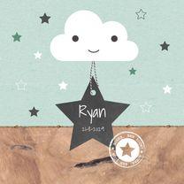 Geboortekaartjes - Geboorte - Wolkje, sterren, hout