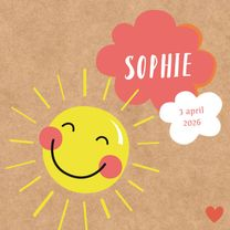 Geboortekaartjes - Geboorte-zonnetje meisje-HK