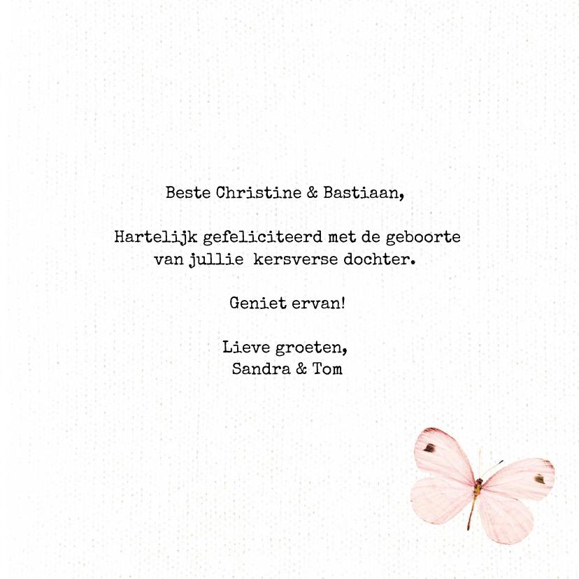 Geboortefelicitatiekaart Welcome Baby Girl met vlinders 3