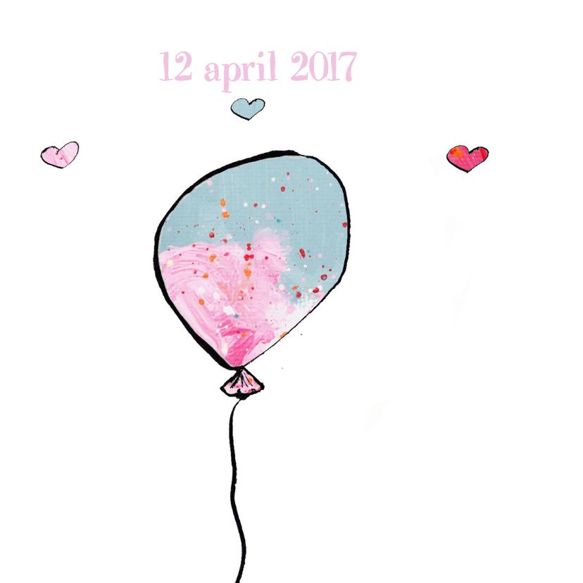 Geboortekaart 3 ballonnen meisje 2