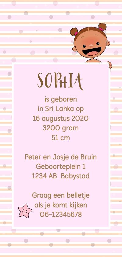 Geboortekaart adoptie meisje achterkant