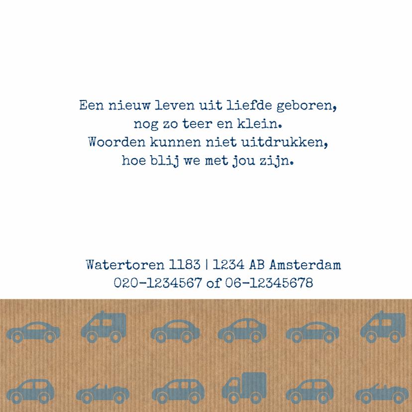 Geboortekaart auto's kartonlook 2