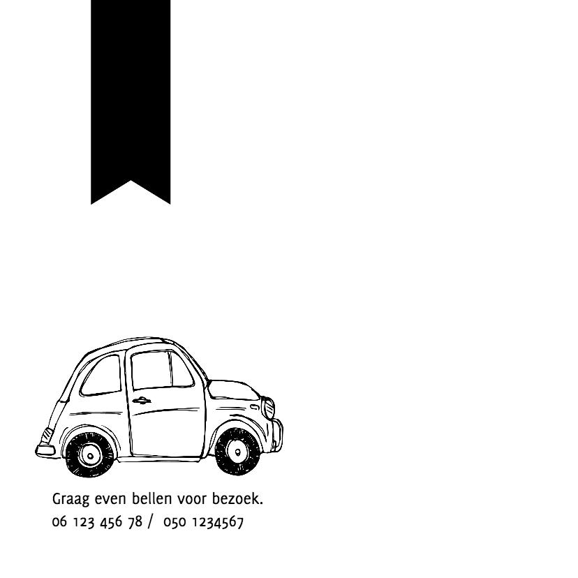 Geboortekaart autootjes zwartwit 2