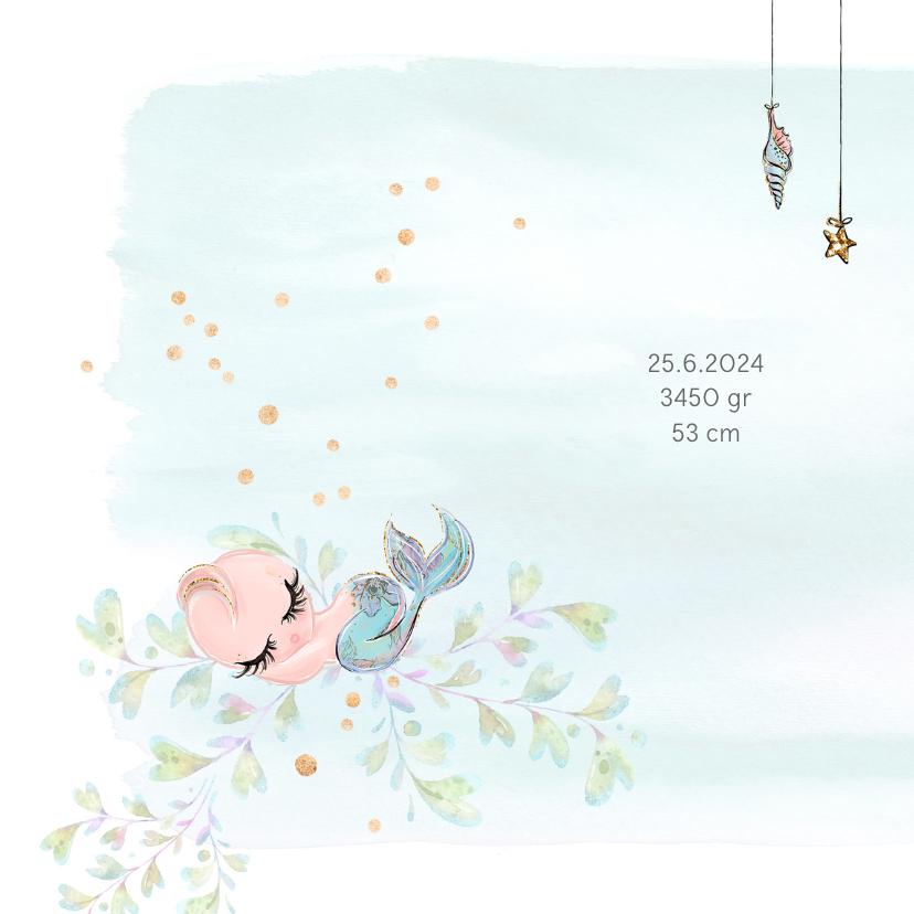 Geboortekaart baby-zeemeermin 2