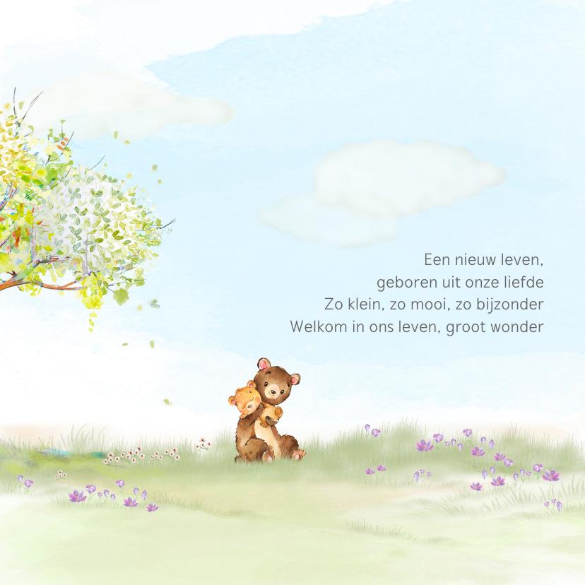 Geboortekaart beer onder boom in lentesfeer 2
