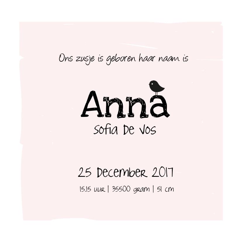 Geboortekaart Birdi zusje 3