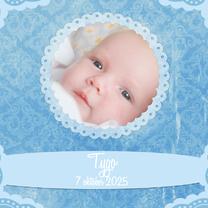 Geboortekaartjes - Geboortekaart blauw barok - BK
