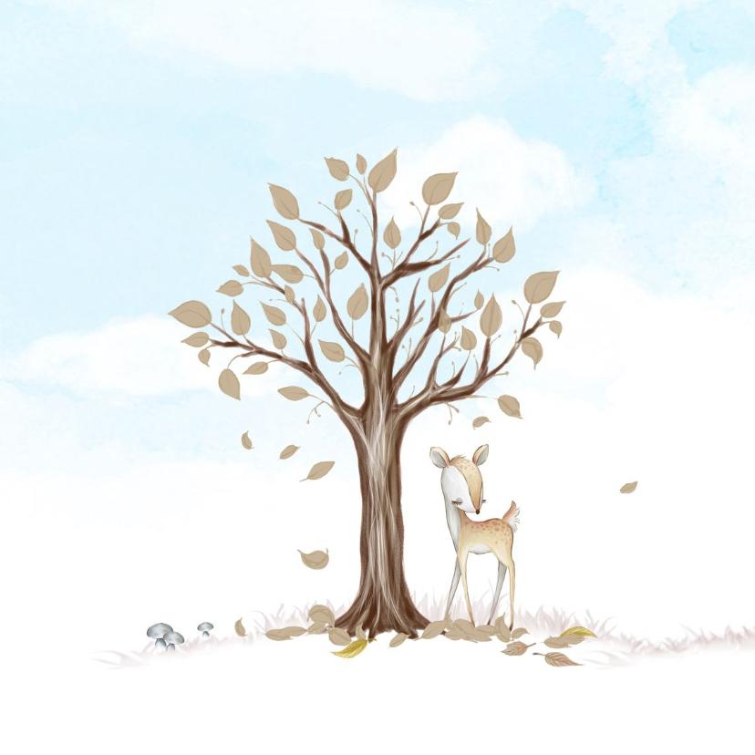 Geboortekaart boom, hertje met veer 2