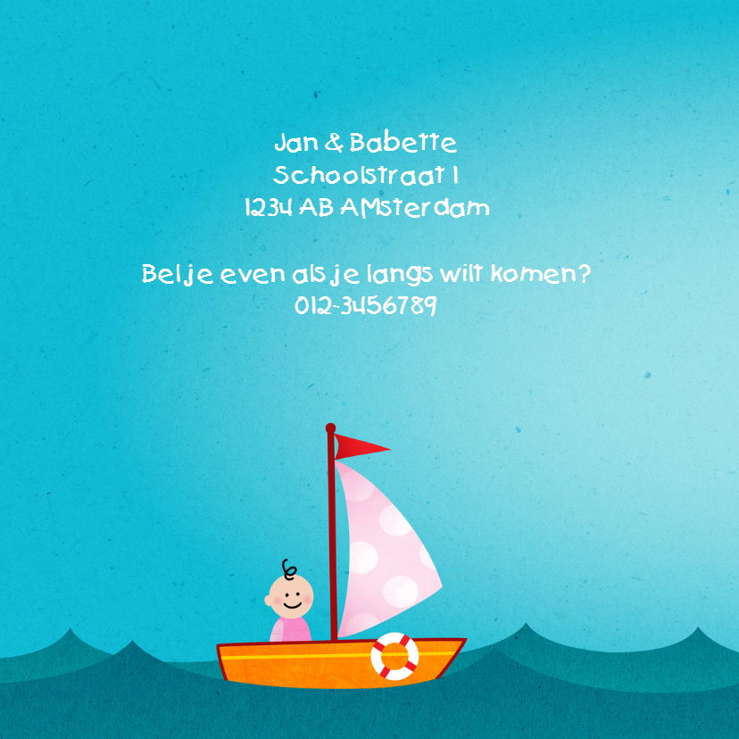 Geboortekaart boot meisje 2