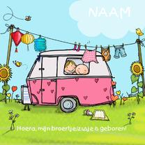 Geboortekaartjes - Geboortekaart caravan roze broer klant