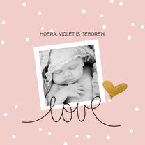 Geboortekaartjes - Geboortekaart confetti goud hart