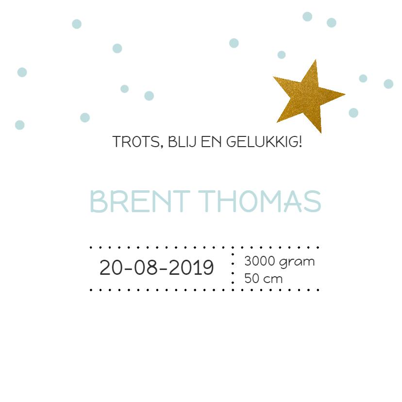 Geboortekaart confetti goud ster 3