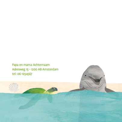 Geboortekaart dolfijn schildpad 2