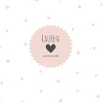 Geboortekaartjes - Geboortekaart driehoek roze - BC