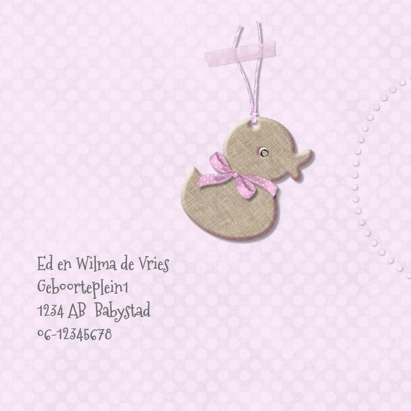 Geboortekaart eendje meisje 2