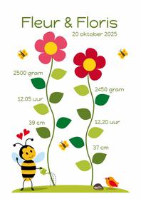 Geboortekaartjes - Geboortekaart groei lieve bloem