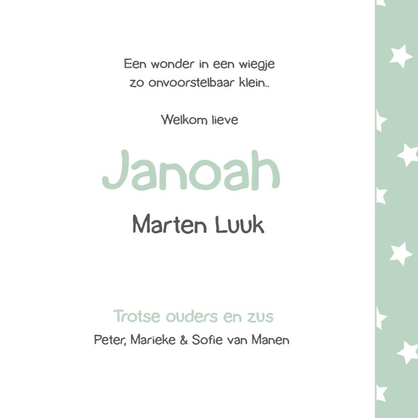 Geboortekaart groen met sterren 3