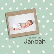 Geboortekaart groen met sterren