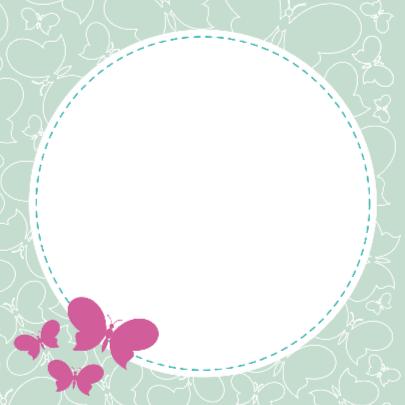 Geboortekaart groene en paarse vlinders 2