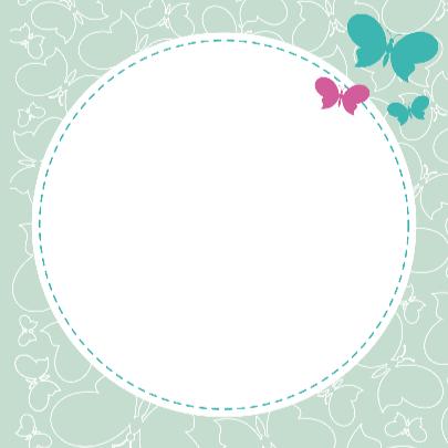 Geboortekaart groene en paarse vlinders 3