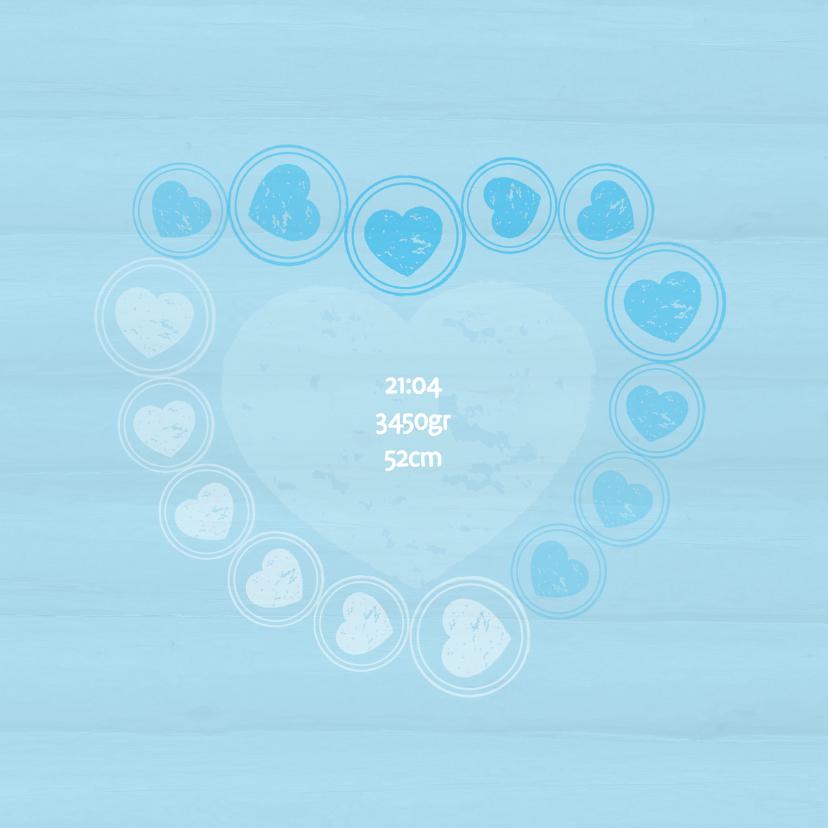 Geboortekaart hartjes blauw - BK 2