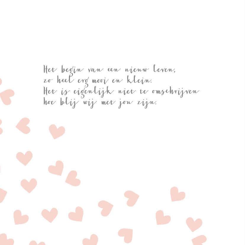 Geboortekaart hartjes roze - BC 2