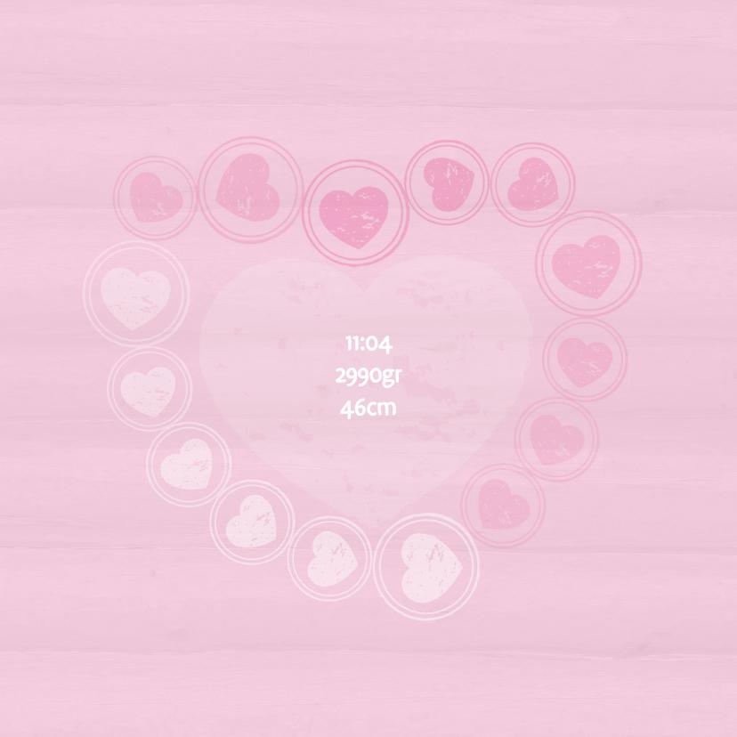 Geboortekaart hartjes roze - BK 2