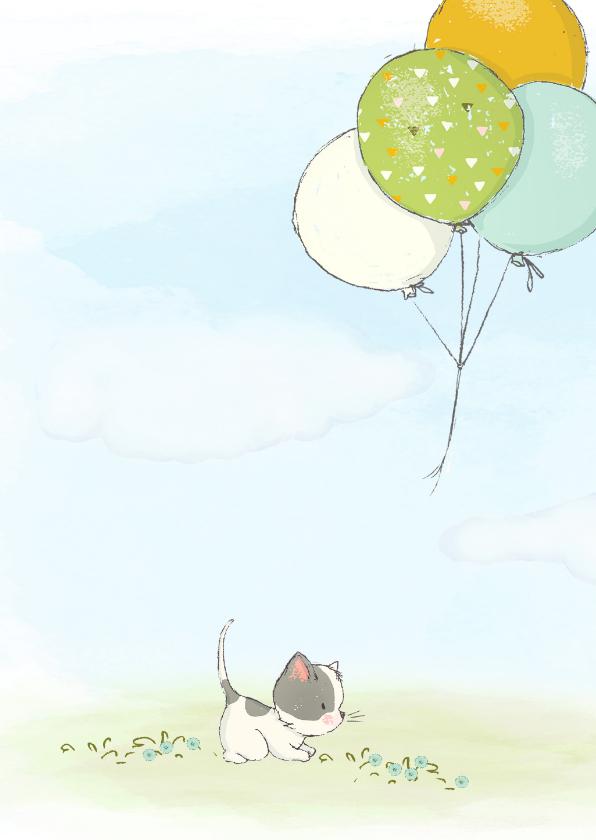 Geboortekaart jongen, kitten en ballonnen 2