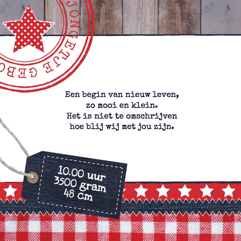 Geboortekaart jongen label hout sterren 2