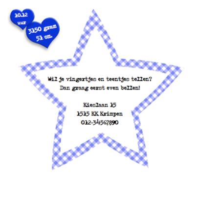 Geboortekaart jongen met sterren en knuffels 2