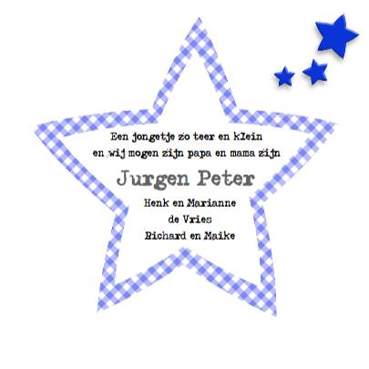 Geboortekaart jongen met sterren en knuffels 3