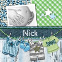 Geboortekaartjes - Geboortekaart jongen waslijn