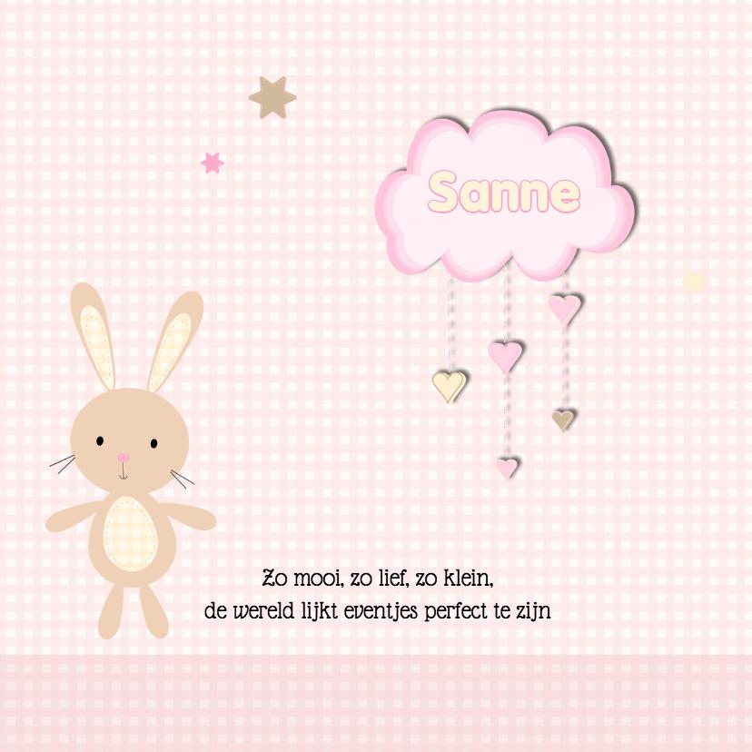 Geboortekaart konijn dochter 2
