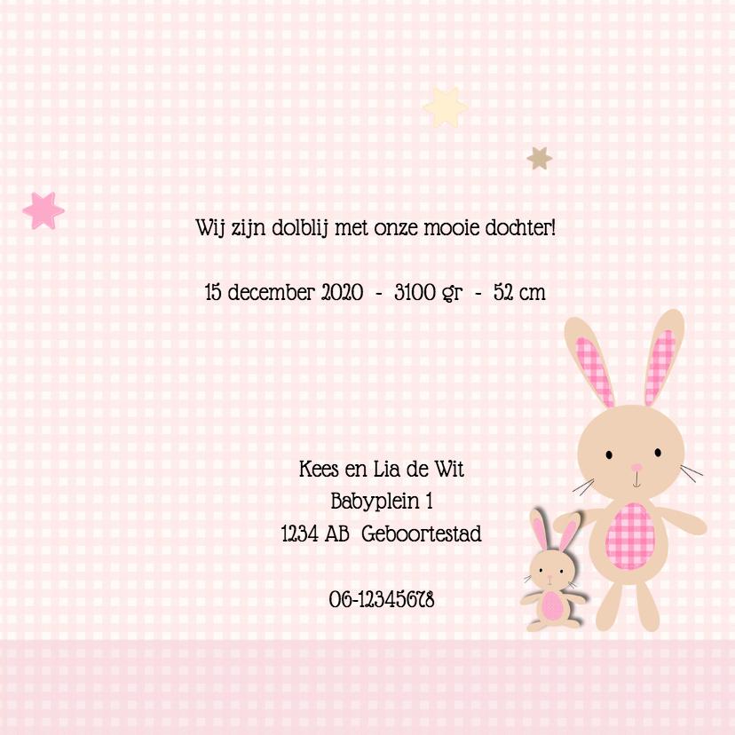 Geboortekaart konijn dochter 3