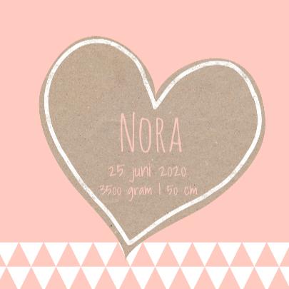 Geboortekaart krafthart roze 3