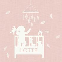 Geboortekaartjes - Geboortekaart Ledikant roze - AV
