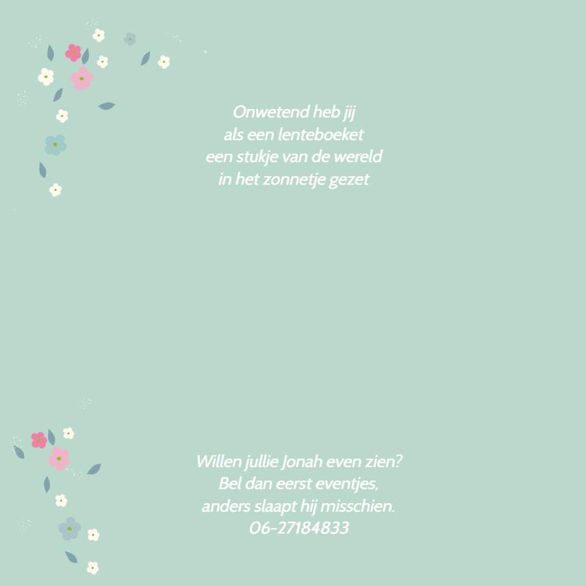 Geboortekaart lentebloesem Jonah 2