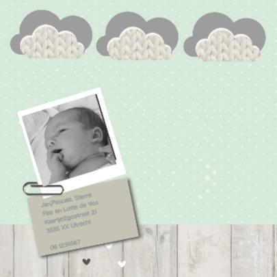Geboortekaart letterbak mint 2