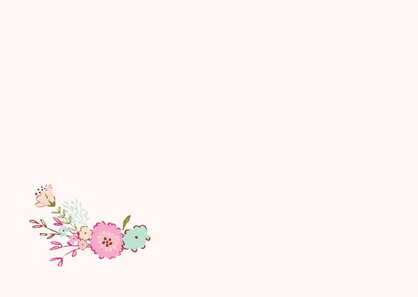 Geboortekaart meisje bloemen met foto 3