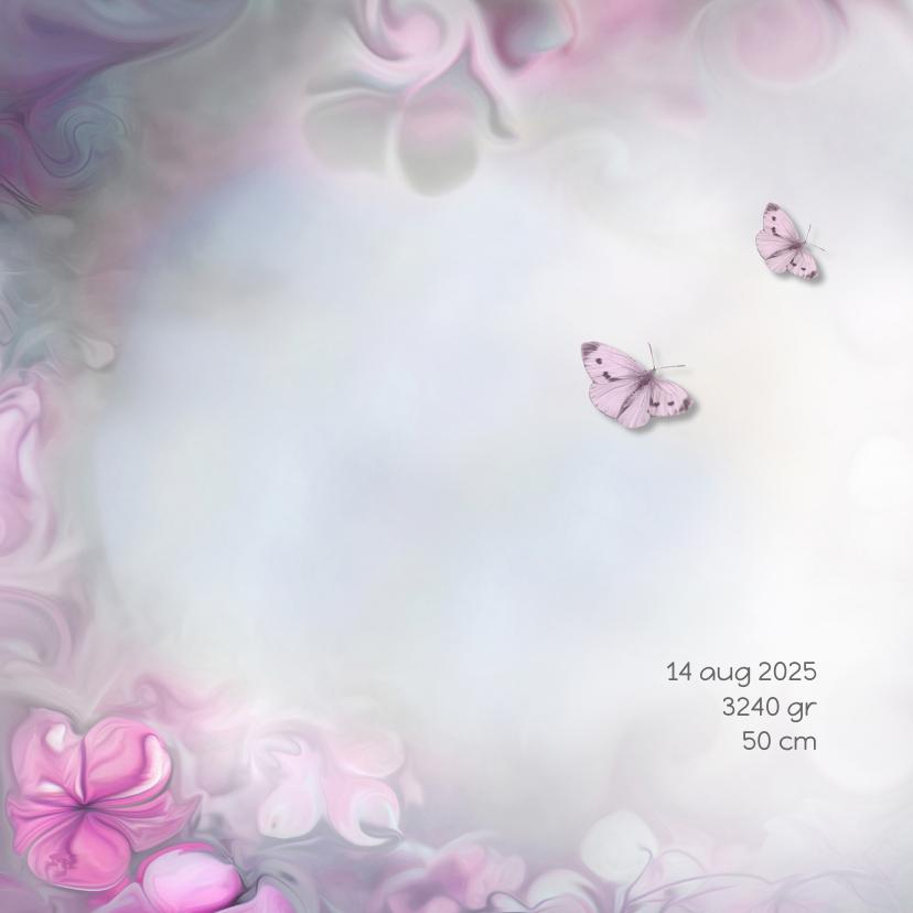 Geboortekaart meisje-bloemen 2