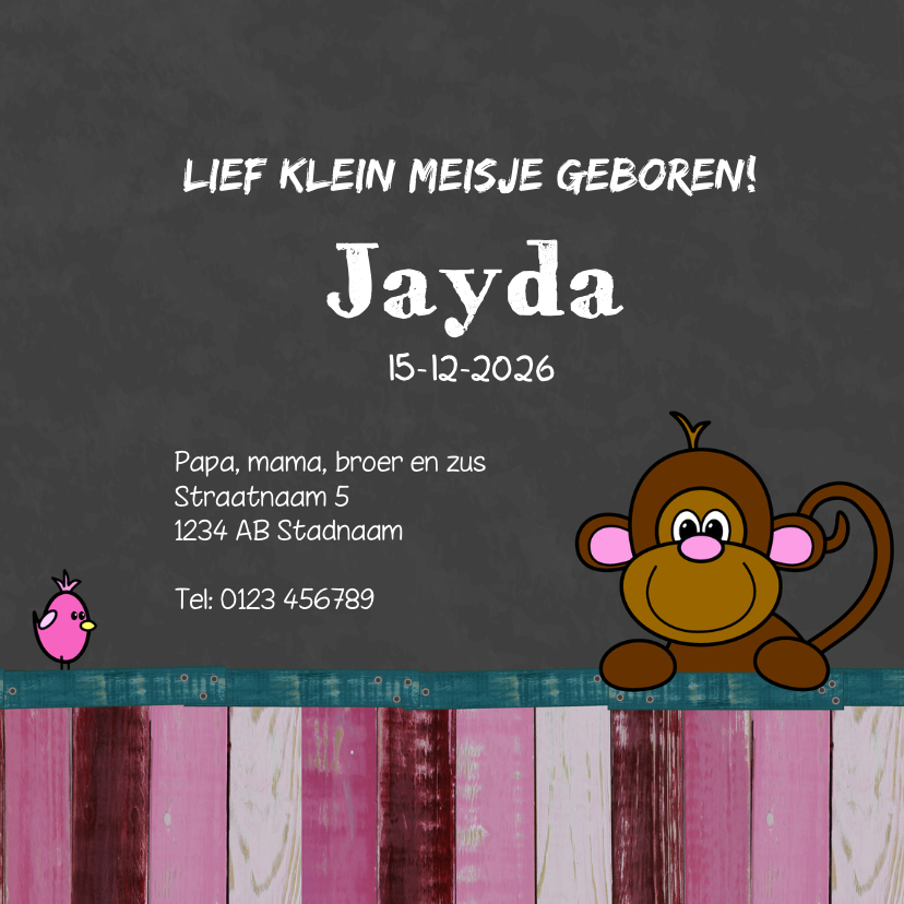 Geboortekaart meisje dieren HB 3