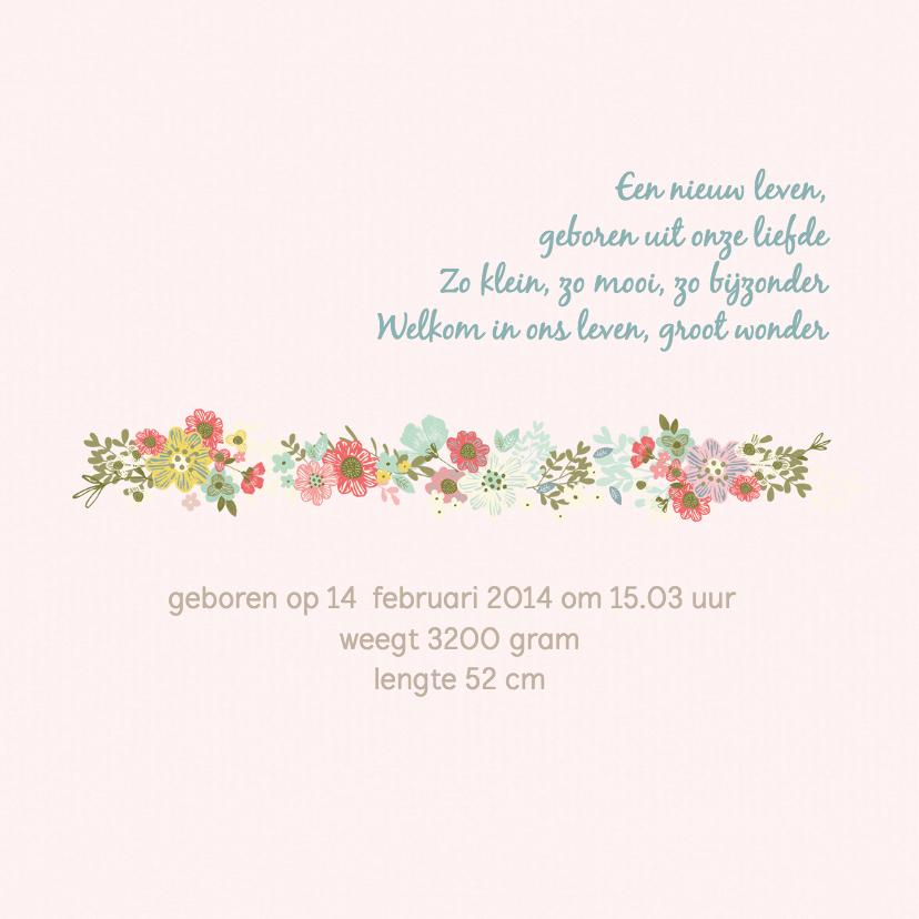 Geboortekaart meisje - konijn, ballon, bloemen 2